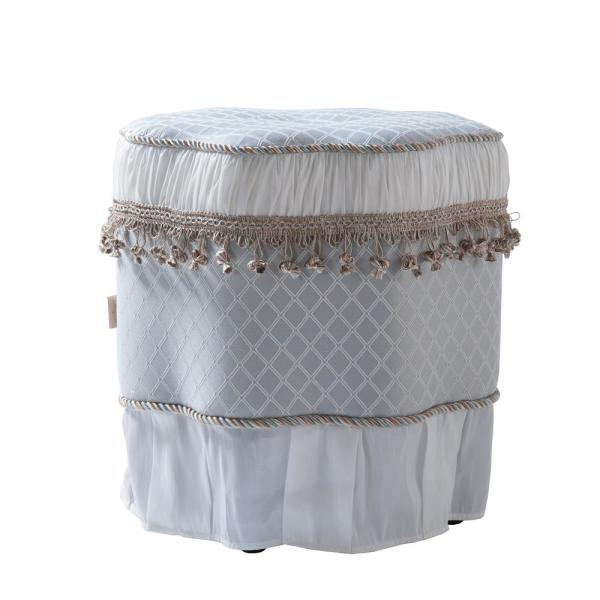 Jennifer Taylor Eleanor Silver Blue and White Decorative Ottoman 2339-394