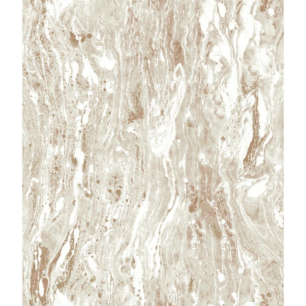RoomMates RoomMates 28.29 sq. ft. Marble Seas Peel and Stick Wallpaper, Beige