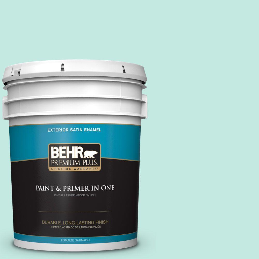 BEHR Premium Plus 5-gal. #P440-2 Clear Aqua Satin Enamel Exterior Paint