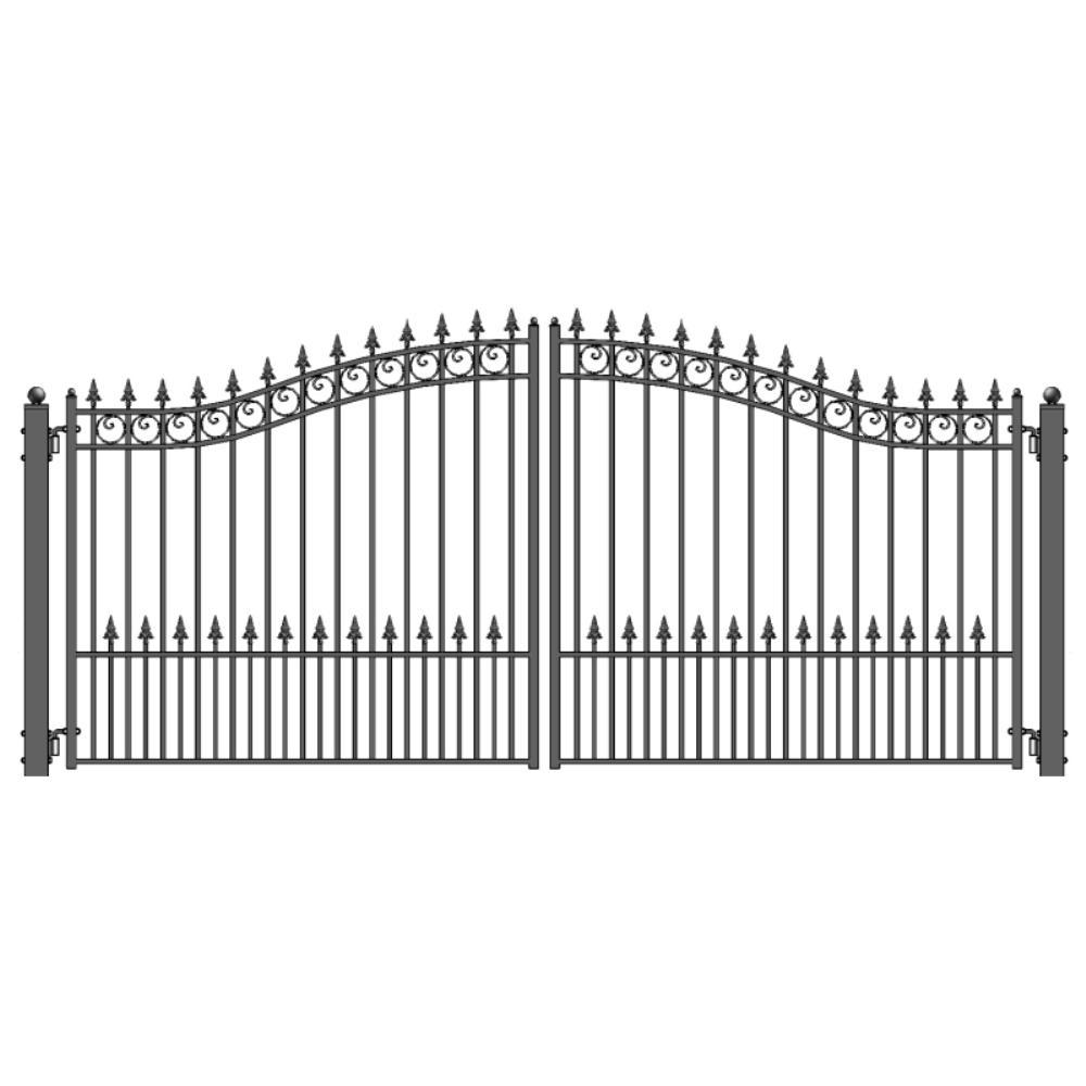 ALEKO Prague Style 14 ft. x 6 ft. Black Steel Dual Driveway Fence Gate