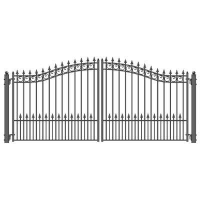 Prague Style 14 ft. x 6 ft. Black Steel Dual Driveway Fence Gate