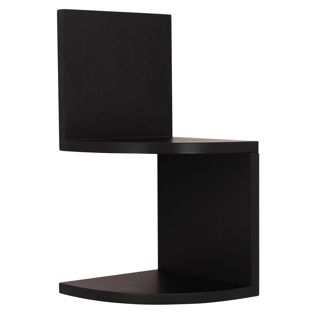 D Black Corner Shelves (Set of