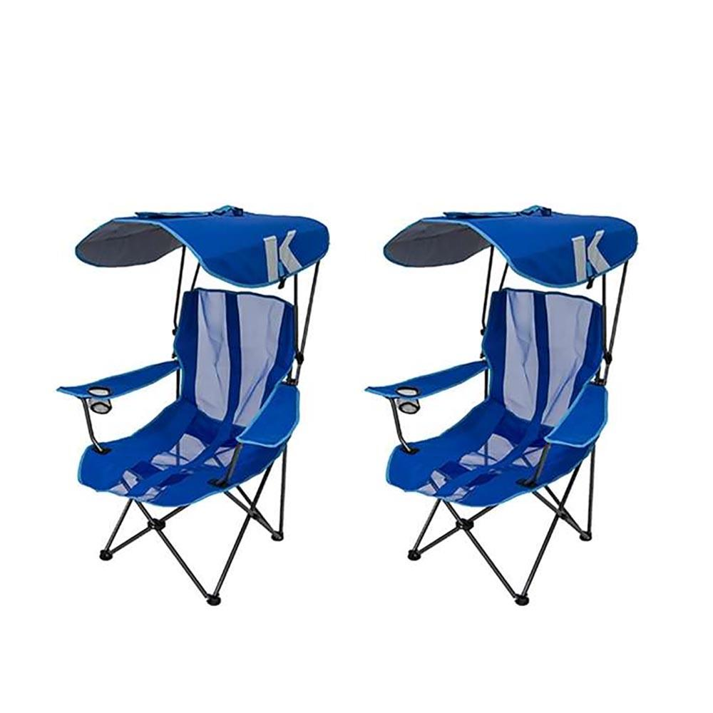 Kelsyus Premium Portable Camping Folding Lawn Chair With Canopy Blue 2 Pack 2 X 80185 The Home Depot