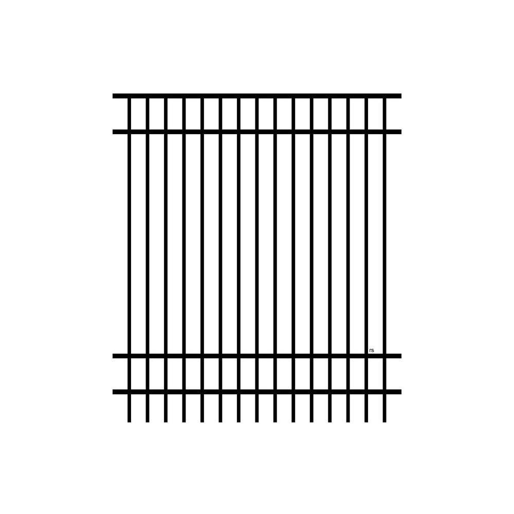 Jefferson 6 ft. x 6 ft. Aluminum Black Metal Fence Panel