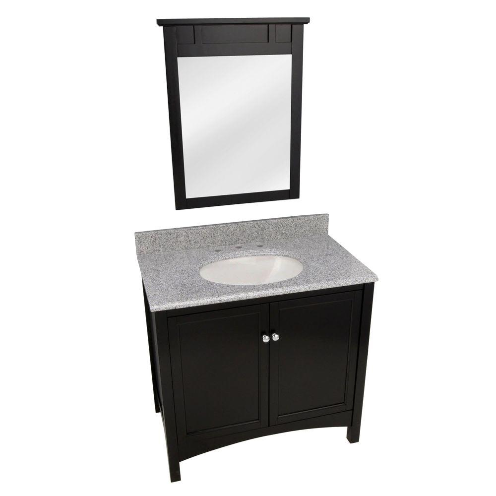 Foremost Haven 37 in. Vanity in Espresso with Granite Vanity Top in Napoli and Mirror in Espresso