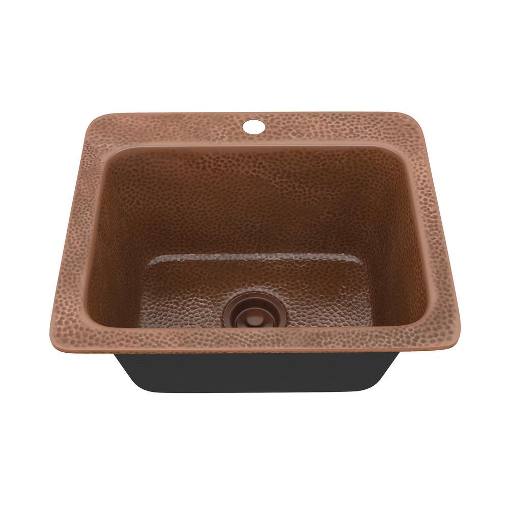 Galley Kitchen Sink: ANZZI Galley Drop-in Handmade Copper 18 In. 1-Hole Single Bowl Kitchen Sink In Hammered Antique