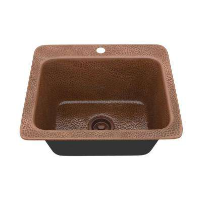 Galley Drop-in Handmade Copper 18 in. 1-Hole Single Bowl Kitchen Sink in Hammered Antique Copper