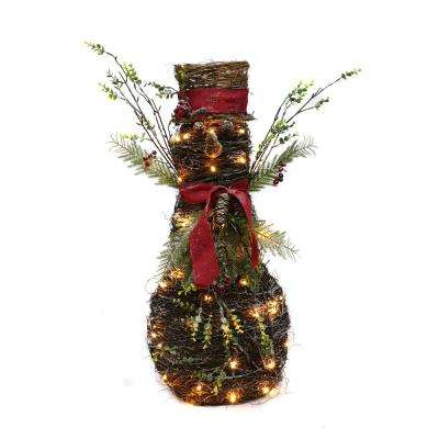 32 in. Christmas Rattan Lighted Snowman with 40 LED Lights
