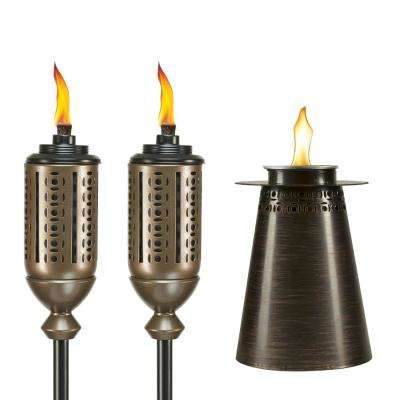 (2) 65 in. Cabos Metal Torch Copper Plus 7.5 in. Clean Burn Fire Pillar Metal Table Torch Copper