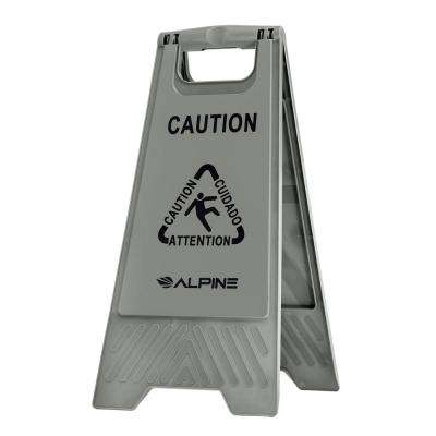 24 in. Gray Bilingual Caution Wet Floor Sign