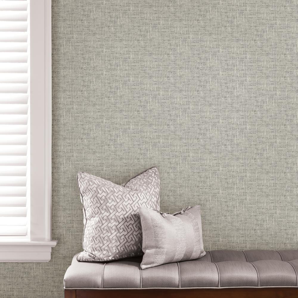 Poplin Texture Grey Peel and Stick Wallpaper