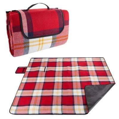 Oversized Outdoor Picnic Blanket with Foam Padding in Red Plaid