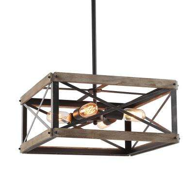 4-Light Black Wood Kitchen Island Lighting Rustic Chandelier