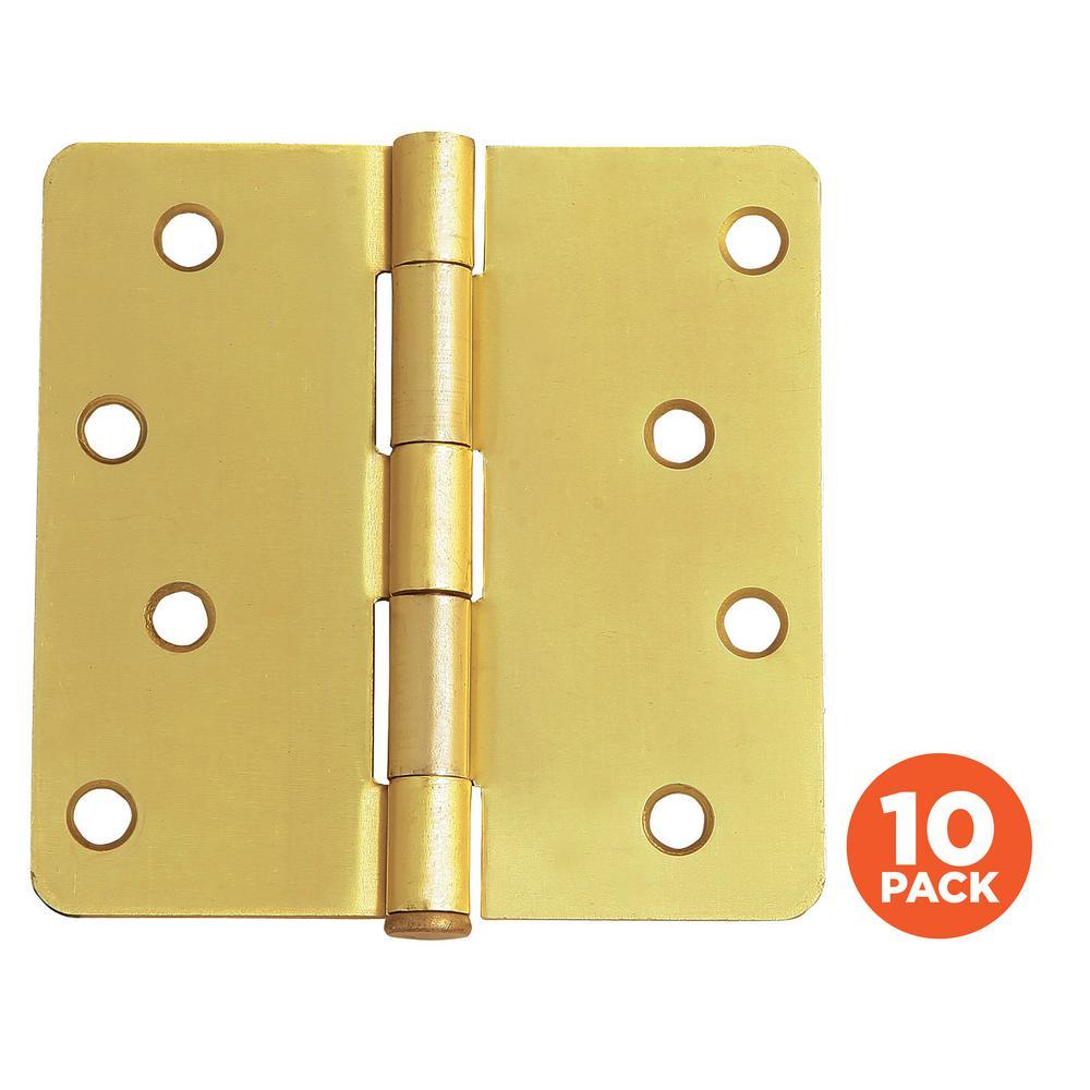 Design House 4 In X 1 4 In Radius Satin Brass Door Hinge