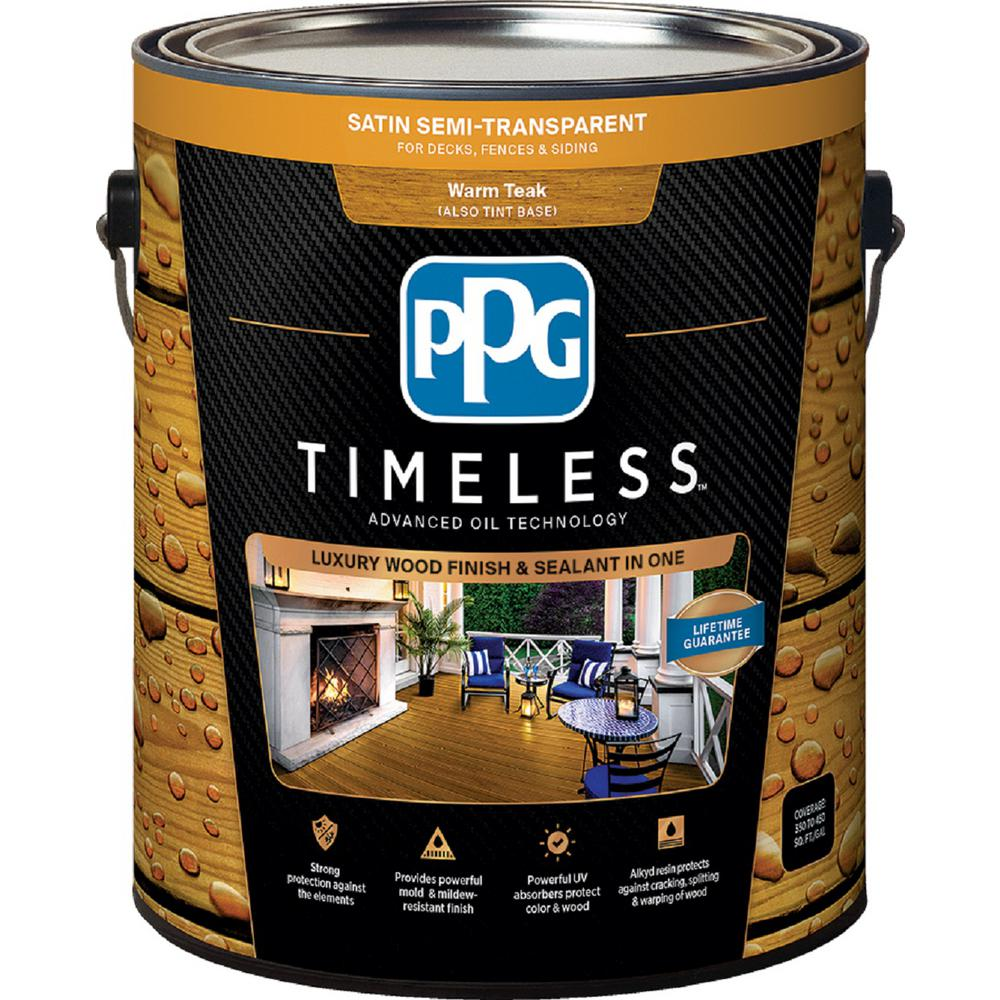 PPG TIMELESS 1 gal. TSN-52 Warm Teak Satin Semi-Transparent Advanced Oil Exterior Wood Stain