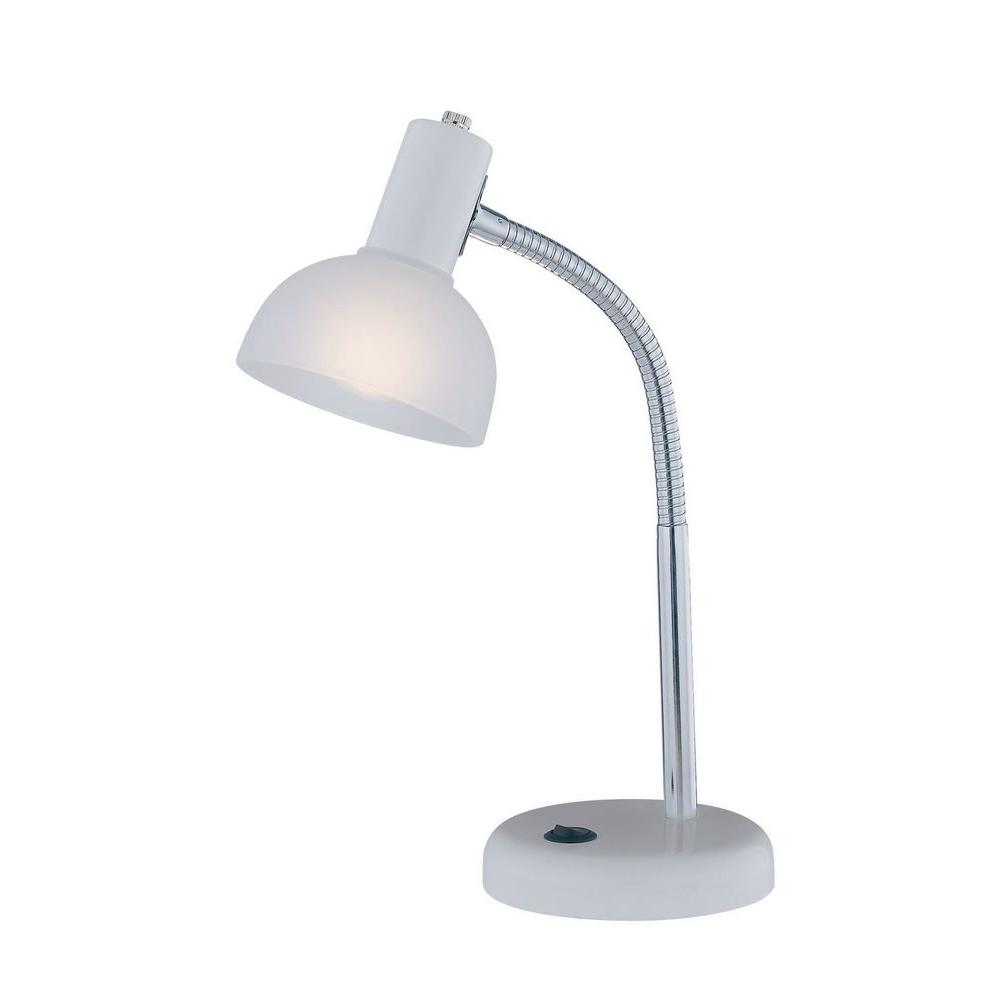 Illumine Designer Collection 15.5 in. White Desk Lamp with Frost Glass Shade