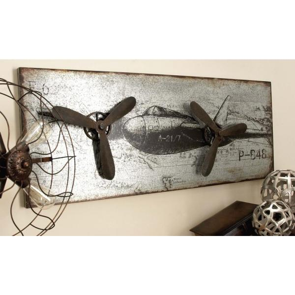 46 In X 18 In Vintage Airplane Wall Art In Rustic Finish With 3d Accents