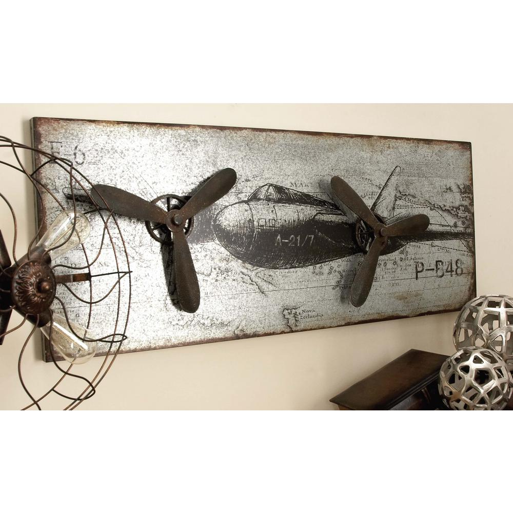 46 In X 18 In Vintage Airplane Wall Art In Rustic Finish