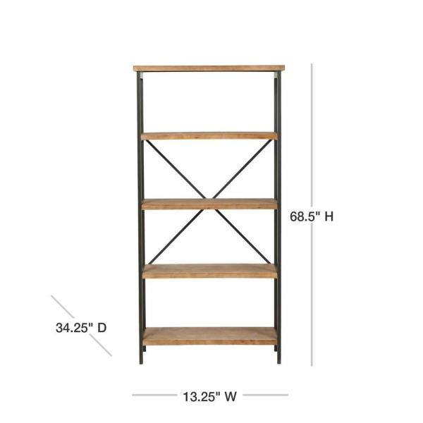 Noble House Winsten 22 00 In Antique Brown Wood 4 Shelf Accent Bookcase 8022 The Home Depot