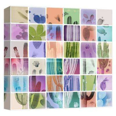 15 in. x 15 in. ''Analog Cacti'' Printed Canvas Wall Art