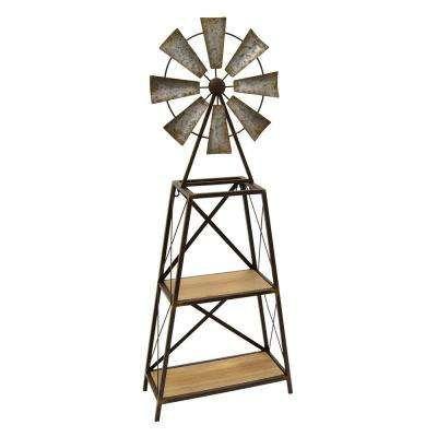14.5 in. x 6 in. Gray Windmill Decor