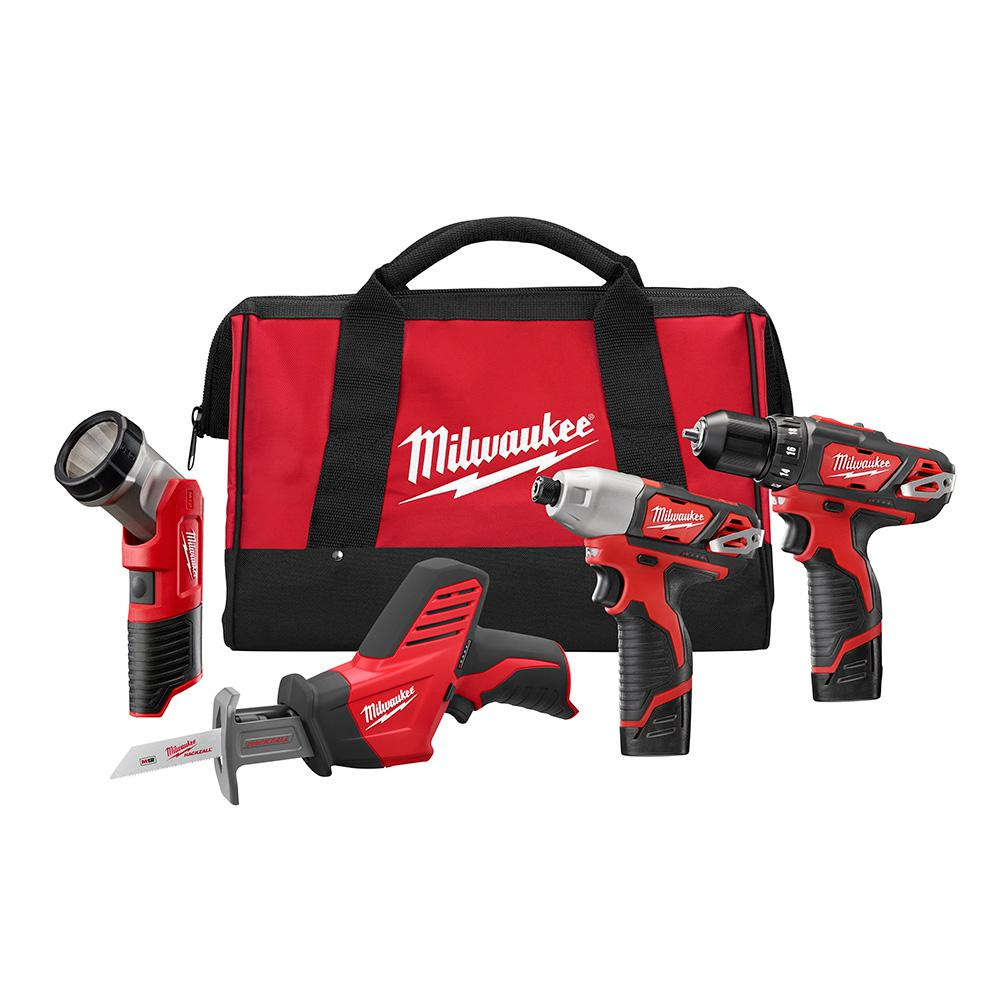 Milwaukee M12 12-Volt Lithium-Ion Cordless Drill/Impact/Hackzall/Light Combo Kit (4-Tool) w/(2) 1.5Ah Batteries, Charger, Tool Bag