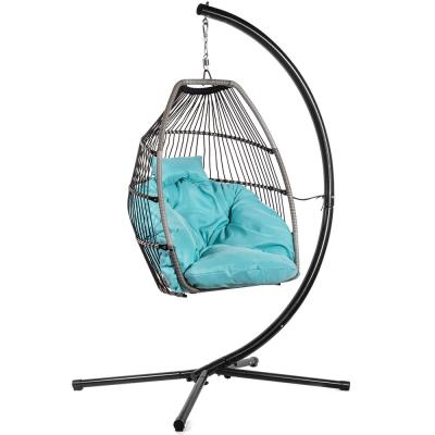 Black Wicker Egg-Shaped Patio Swing Chair with Blue Cushion