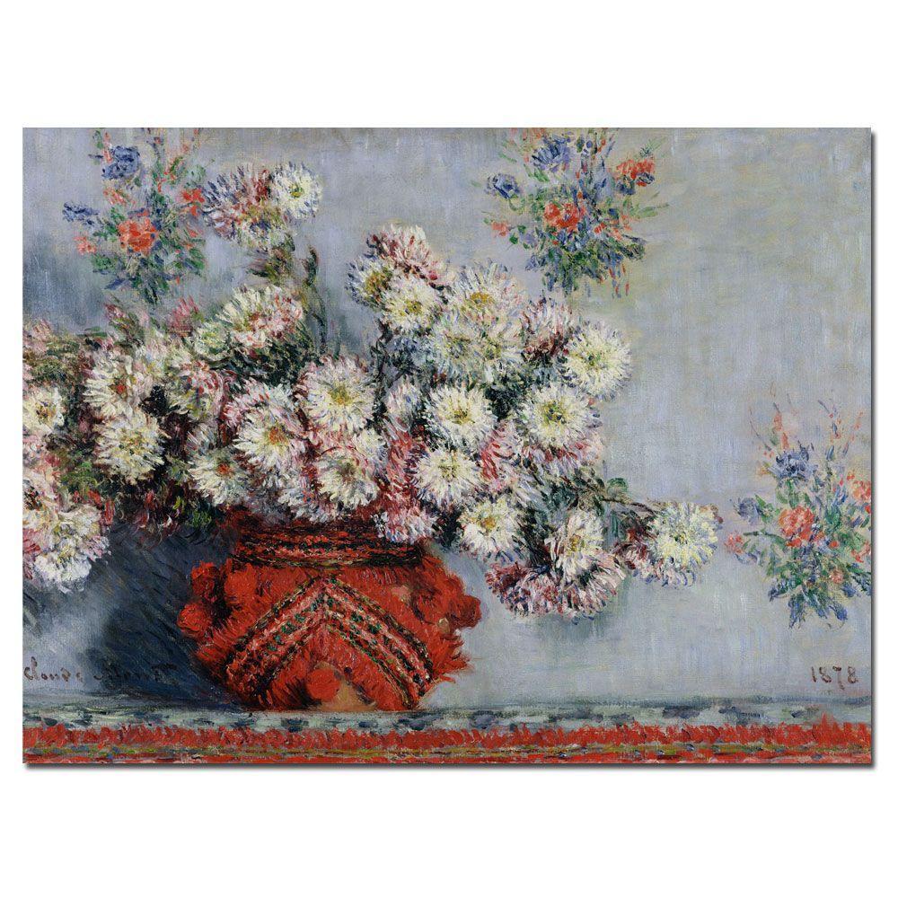 24 in. x 32 in. Chrysanthemums 1878 Canvas Art