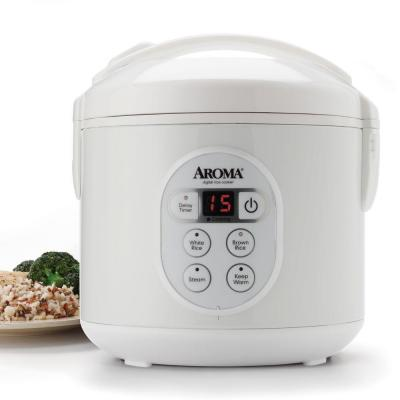 8-Cup White Digital Rice Cooker in Black Control Panel