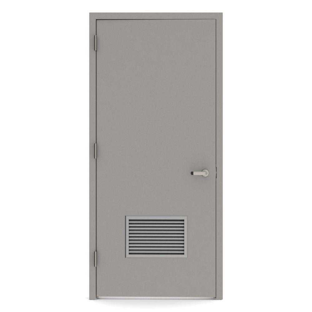 36 in. x 84 in. Firerated Right-Hand Louver Steel Prehung Commercial