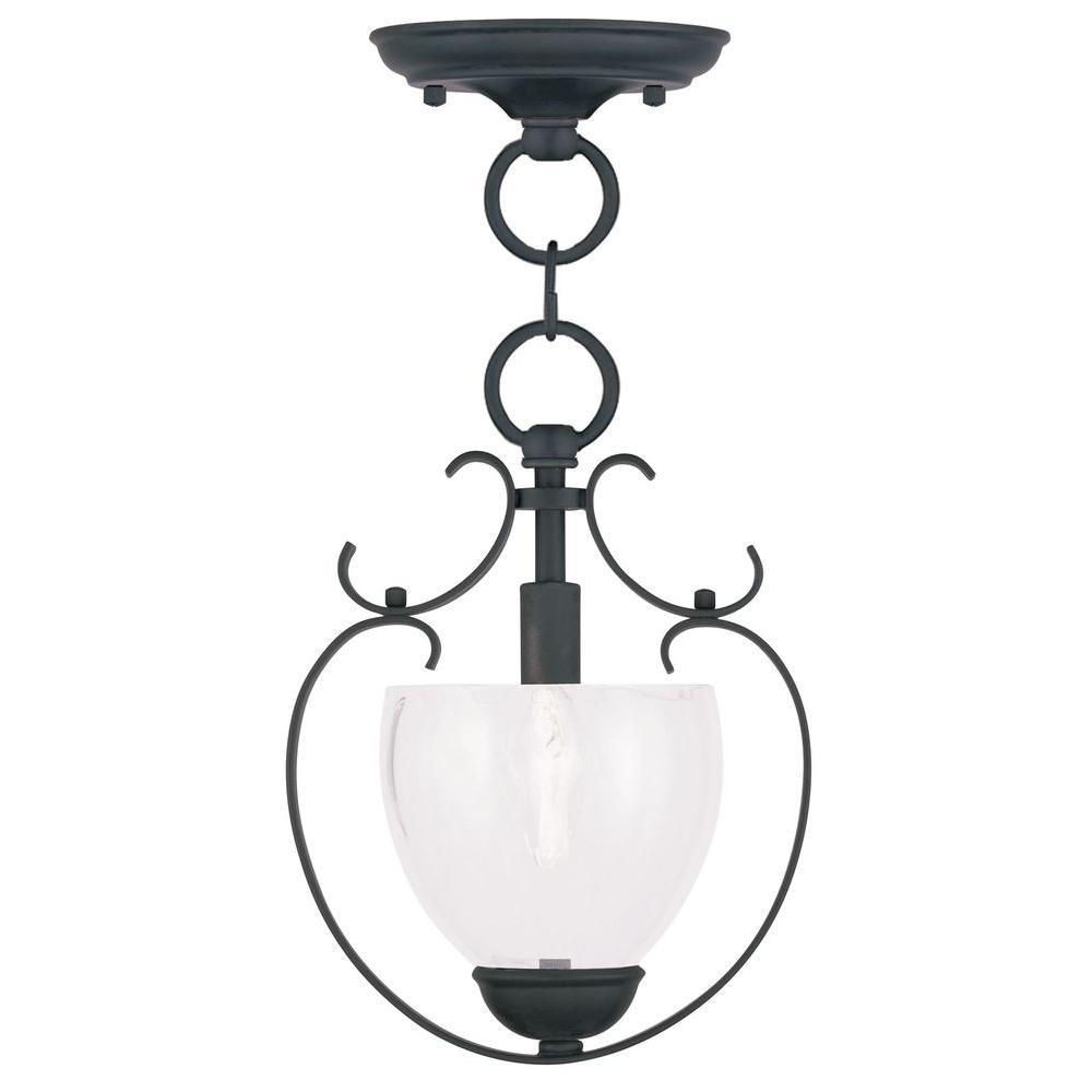 Providence 1-Light Black Incandescent Ceiling Pendant
