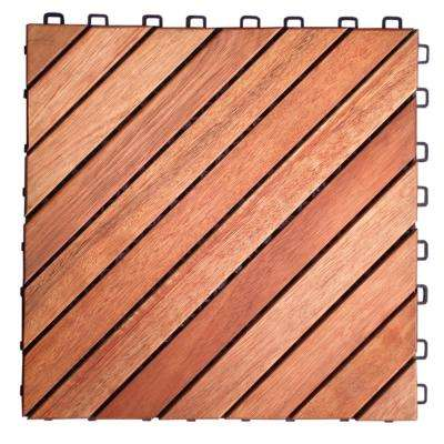 Roch 12-dianogal-slat 12 in. x 12 in. Wood Outdoor Balcony Deck Tile (10 sq. ft. / case)
