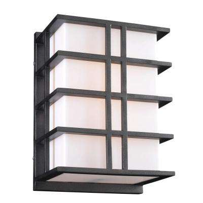 2-Light Outdoor Bronze Wall Sconce with Matte Opal Glass