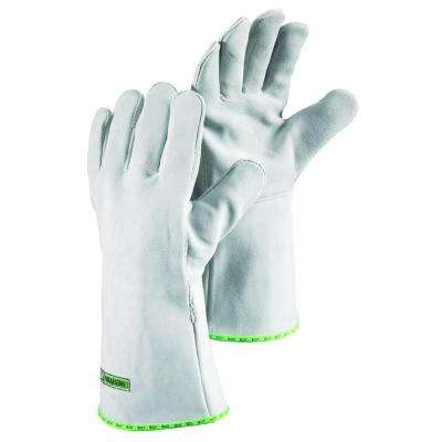 Ember Size 10 X-Large Welding Glove Heavy Duty Split Grain Cowhide Cotton Lining in Grey