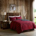 Check 3-Piece Red King/Cal King Oversized Quilt Mini Set