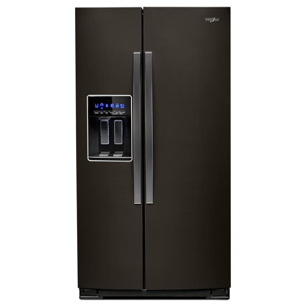 Whirlpool 36 In W 28 Cu Ft Side By Side Refrigerator In