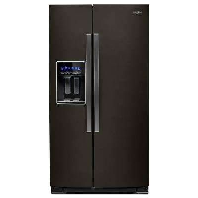 36 in. W 28 cu. ft. Side by Side Refrigerator in Fingerprint Resistant Black Stainless, Full Depth