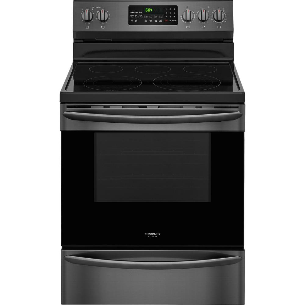 frigidaire gallery 5 7 cu ft electric range with convection self cleaning oven in black. Black Bedroom Furniture Sets. Home Design Ideas
