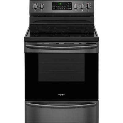 5.7 cu. ft. Electric Range with Convection Self-Cleaning Oven in Black Stainless Steel
