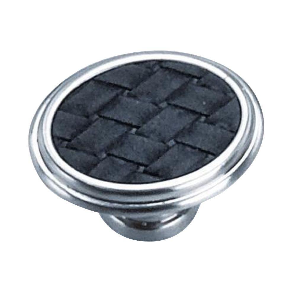 1-5/8 in. Satin Nickel/Black Oval Cabinet Knob
