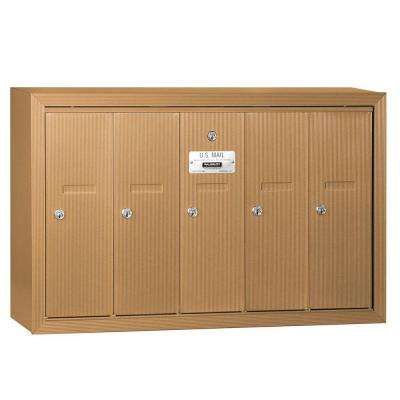 Brass Surface-Mounted USPS Access Vertical Mailbox with 5 Doors