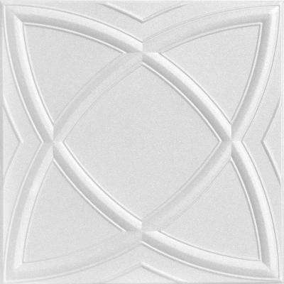 Elliptic Illusion 1.6 ft. x 1.6 ft. Foam Glue-up Ceiling Tile in Plain White (21.6 sq. ft. / case)