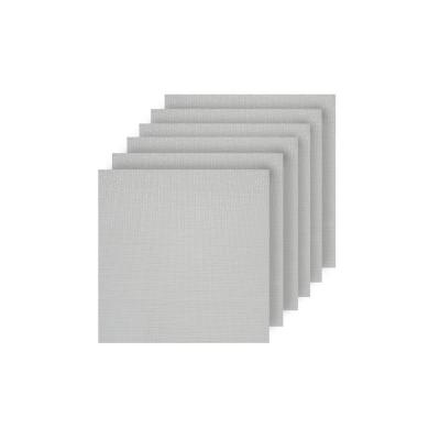 Natural Shimmer White Woven Textilene Reversible Square Placemats (Set of 6)