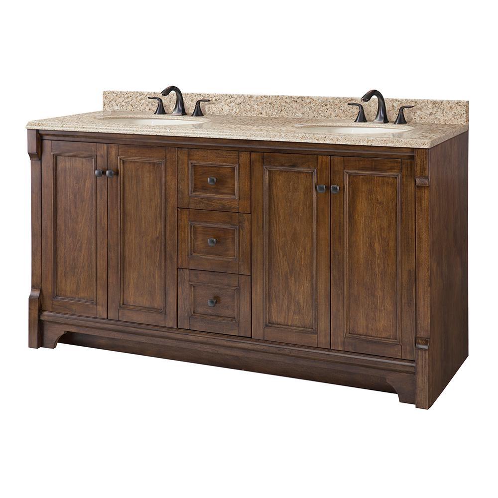 Home Decorators Collection Creedmoor 61 in. W x 22 in. D Vanity in Walnut with Granite Vanity Top in Beige with White Sink