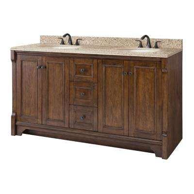 Creedmoor 61 in. W x 22 in. D Vanity in Walnut with Granite Vanity Top in Beige with White Sink