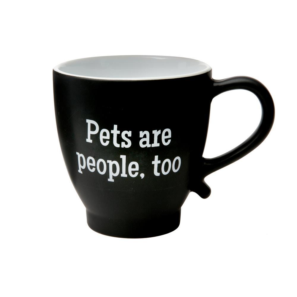 Pets Are People Too 20 oz. Black-White Ceramic Coffee Mug