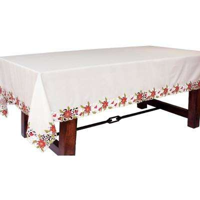 70 in. x 108 in. Poinsettia Lace Embroidered Cutwork Tablecloth