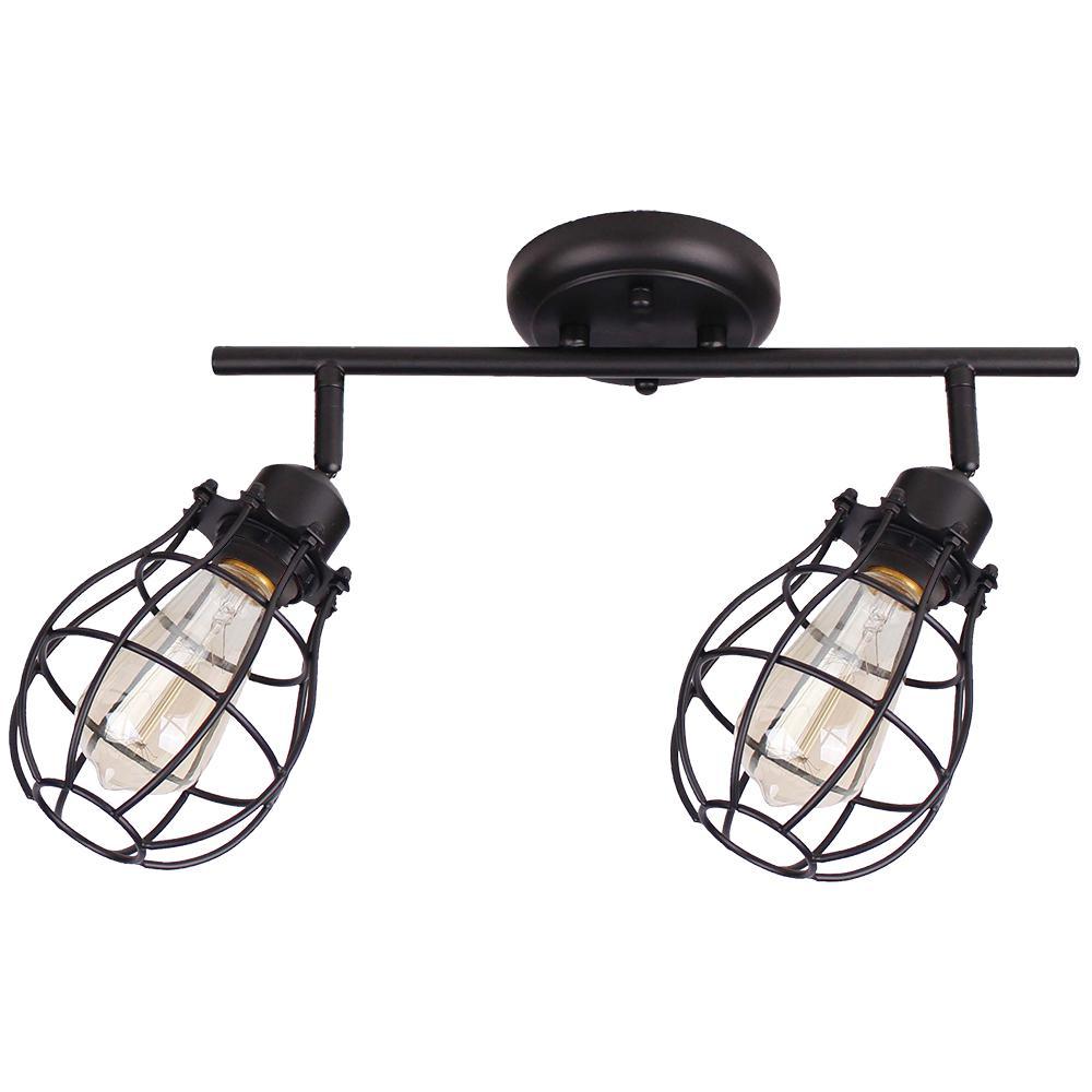 Lancy 2-Lights Matte Black Track Light with Cage Shade