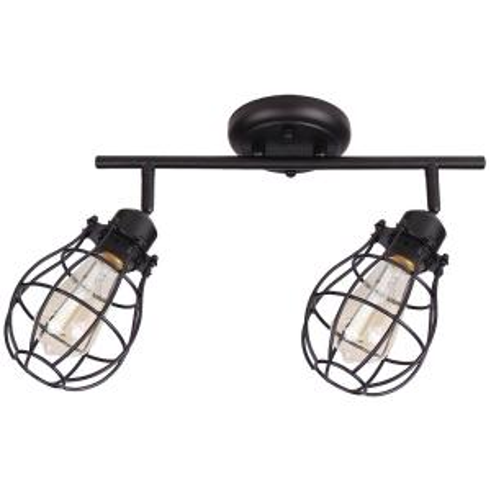 BELDI Lancy 2-Lights Matte Black Track Light with Cage Shade by BELDI