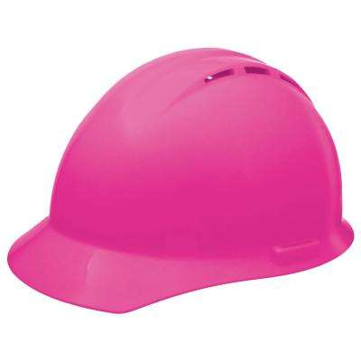 Vent 4-Point Nylon Suspension Mega Ratchet Cap Hard Hat in Hi-Viz Pink